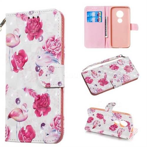 Flamingo 3D Painted Leather Wallet Phone Case for Motorola Moto G7 Play