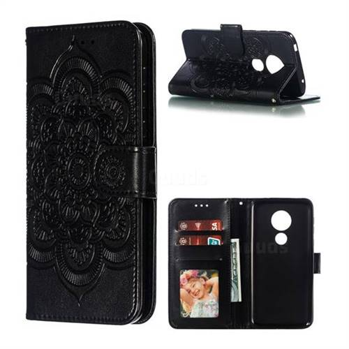 Intricate Embossing Datura Solar Leather Wallet Case for Motorola Moto G7 Play - Black
