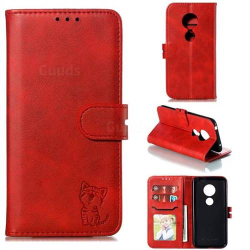 Embossing Happy Cat Leather Wallet Case for Motorola Moto G7 Play - Red