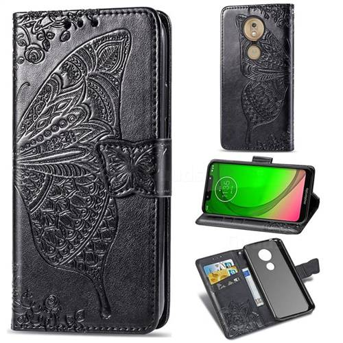 Embossing Mandala Flower Butterfly Leather Wallet Case for Motorola Moto G7 Play - Black