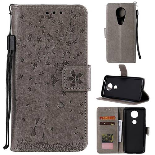 Embossing Cherry Blossom Cat Leather Wallet Case for Motorola Moto G7 Play - Gray