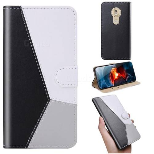 Tricolour Stitching Wallet Flip Cover for Motorola Moto G7 Play - Black