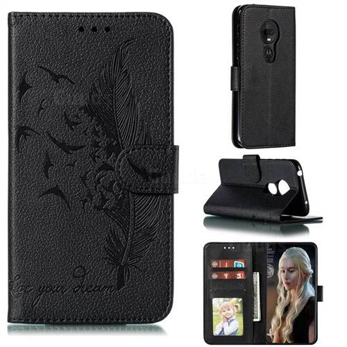 Intricate Embossing Lychee Feather Bird Leather Wallet Case for Motorola Moto G7 Play - Black
