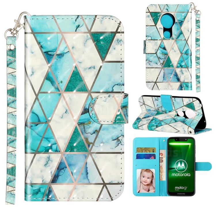 Stitching Marble 3D Leather Phone Holster Wallet Case for Motorola Moto G7 Play