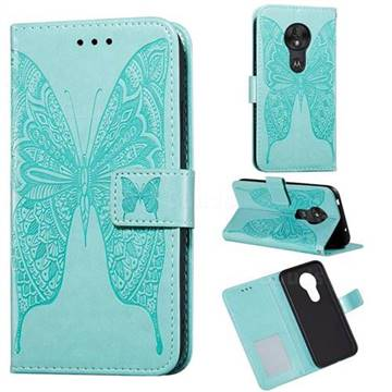 Intricate Embossing Vivid Butterfly Leather Wallet Case for Motorola Moto G7 Play - Green