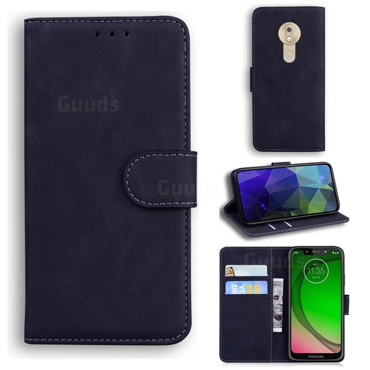 Retro Classic Skin Feel Leather Wallet Phone Case for Motorola Moto G7 Play - Black