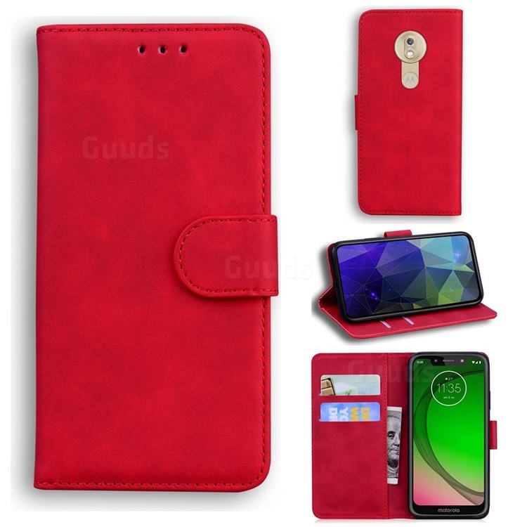 Retro Classic Skin Feel Leather Wallet Phone Case for Motorola Moto G7 Play - Red