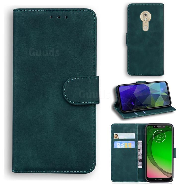 Retro Classic Skin Feel Leather Wallet Phone Case for Motorola Moto G7 Play - Green