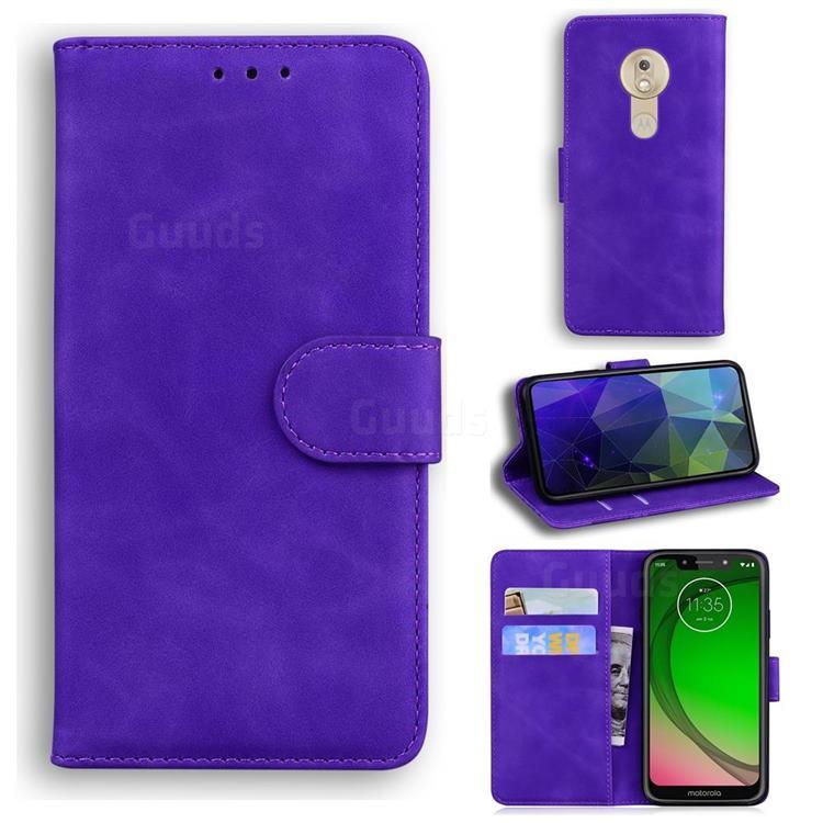 Retro Classic Skin Feel Leather Wallet Phone Case for Motorola Moto G7 Play - Purple