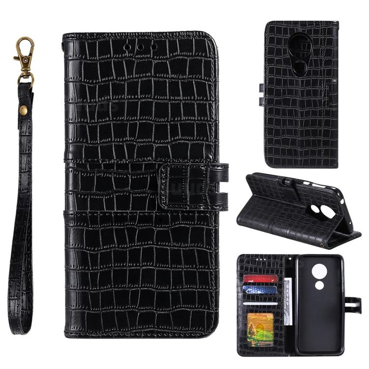 Luxury Crocodile Magnetic Leather Wallet Phone Case for Motorola Moto G7 Play - Black