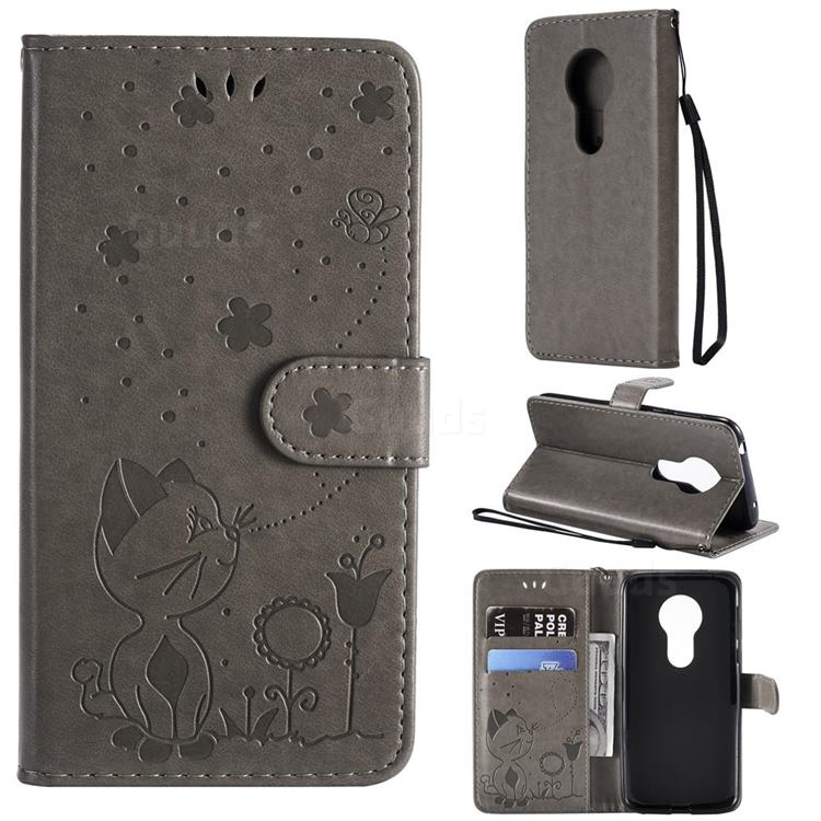 Embossing Bee and Cat Leather Wallet Case for Motorola Moto G7 Play - Gray