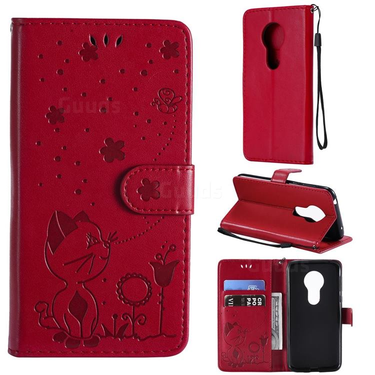 Embossing Bee and Cat Leather Wallet Case for Motorola Moto G7 Play - Red