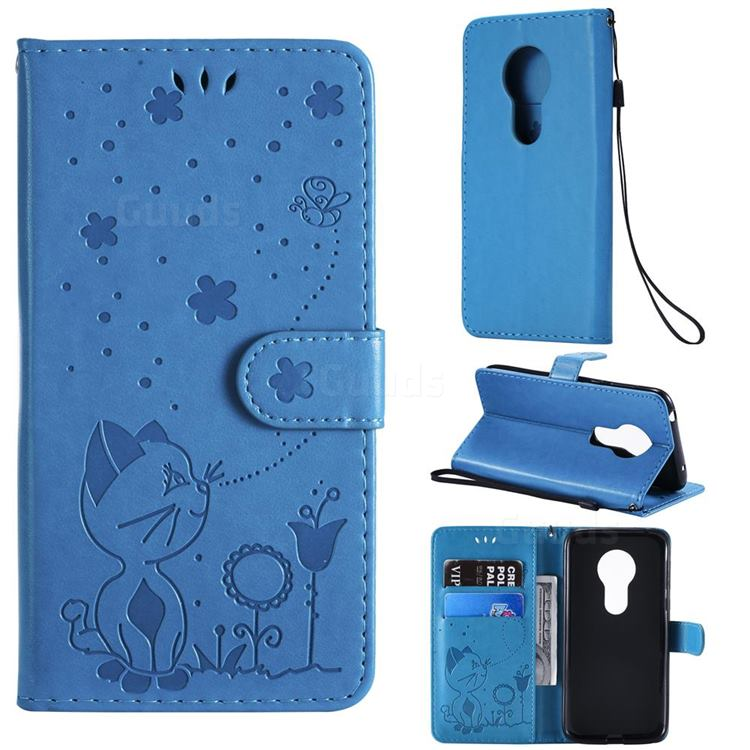 Embossing Bee and Cat Leather Wallet Case for Motorola Moto G7 Play - Blue