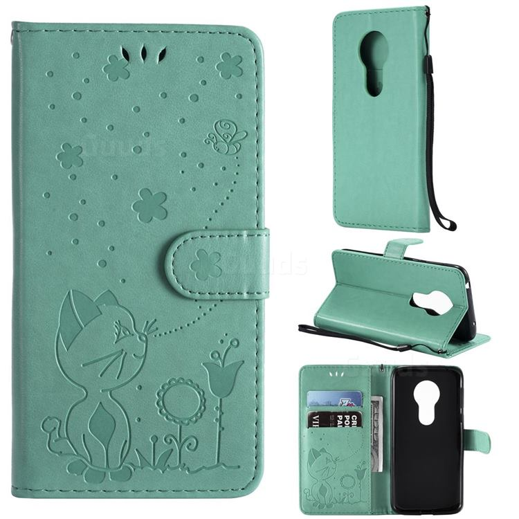 Embossing Bee and Cat Leather Wallet Case for Motorola Moto G7 Play - Green