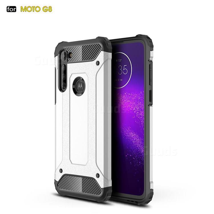 King Kong Armor Premium Shockproof Dual Layer Rugged Hard Cover for Motorola Moto G8 - White