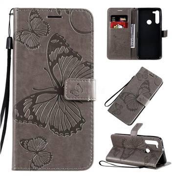 Embossing 3D Butterfly Leather Wallet Case for Motorola Moto G8 - Gray