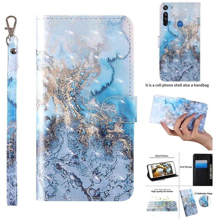 Milky Way Marble 3D Painted Leather Wallet Case for Motorola Moto G8