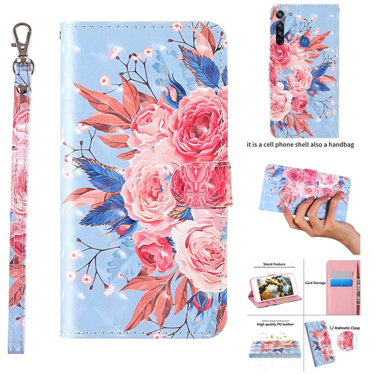 Rose Flower 3D Painted Leather Wallet Case for Motorola Moto G8