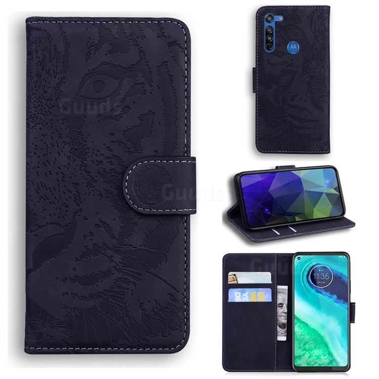 Intricate Embossing Tiger Face Leather Wallet Case for Motorola Moto G8 - Black