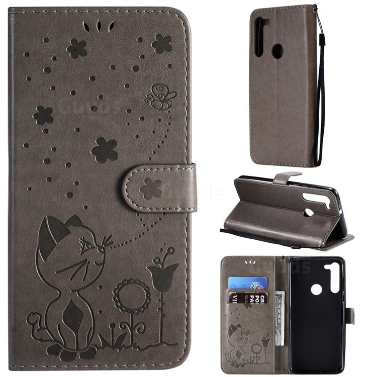Embossing Bee and Cat Leather Wallet Case for Motorola Moto G8 - Gray