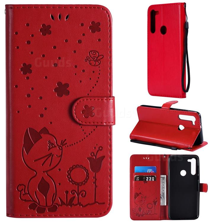 Embossing Bee and Cat Leather Wallet Case for Motorola Moto G8 - Red