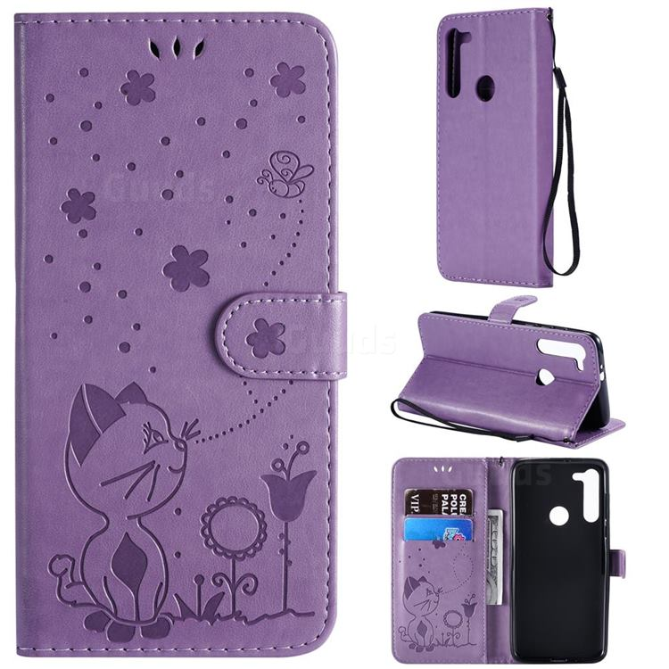 Embossing Bee and Cat Leather Wallet Case for Motorola Moto G8 - Purple