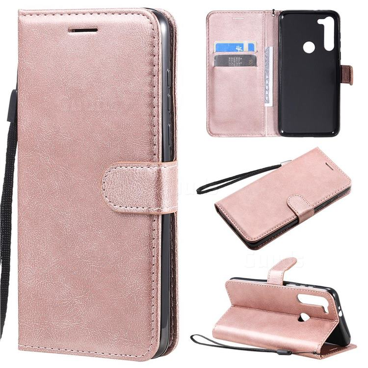 Retro Greek Classic Smooth PU Leather Wallet Phone Case for Motorola Moto G8 Power - Rose Gold