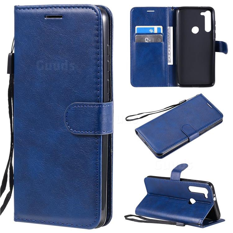 Retro Greek Classic Smooth PU Leather Wallet Phone Case for Motorola Moto G8 Power - Blue