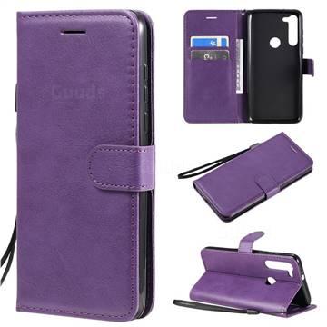 Retro Greek Classic Smooth PU Leather Wallet Phone Case for Motorola Moto G8 Power - Purple