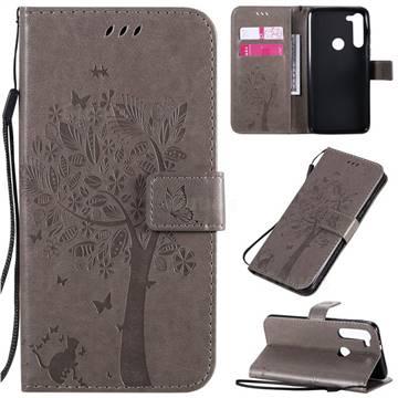 Embossing Butterfly Tree Leather Wallet Case for Motorola Moto G8 Power - Grey