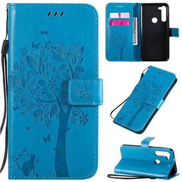 Embossing Butterfly Tree Leather Wallet Case for Motorola Moto G8 Power - Blue