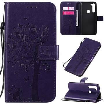 Embossing Butterfly Tree Leather Wallet Case for Motorola Moto G8 Power - Purple