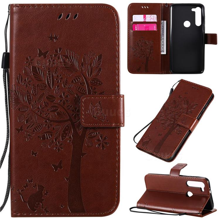 Embossing Butterfly Tree Leather Wallet Case for Motorola Moto G8 Power - Coffee