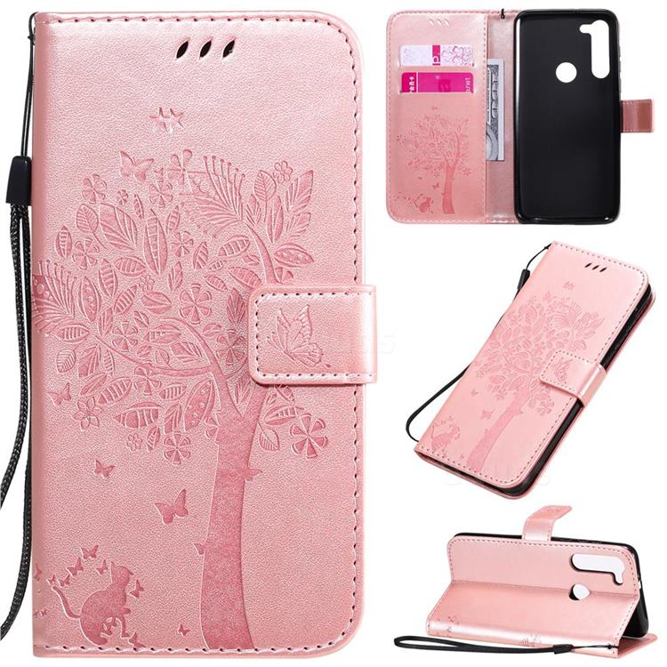 Embossing Butterfly Tree Leather Wallet Case for Motorola Moto G8 Power - Rose Pink