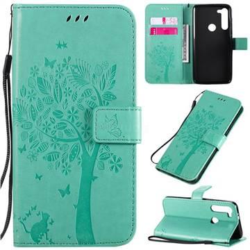 Embossing Butterfly Tree Leather Wallet Case for Motorola Moto G8 Power - Cyan