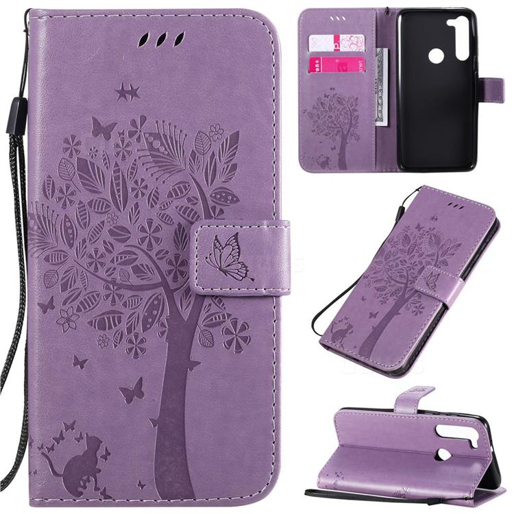 Embossing Butterfly Tree Leather Wallet Case for Motorola Moto G8 Power - Violet