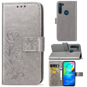 Embossing Imprint Four-Leaf Clover Leather Wallet Case for Motorola Moto G8 Power - Grey