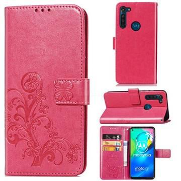 Embossing Imprint Four-Leaf Clover Leather Wallet Case for Motorola Moto G8 Power - Rose Red