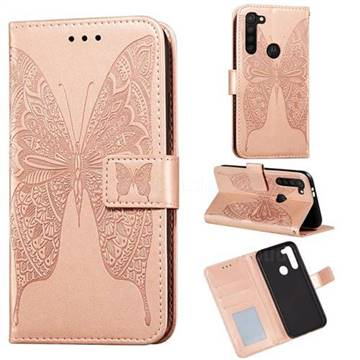 Intricate Embossing Vivid Butterfly Leather Wallet Case for Motorola Moto G8 Power - Rose Gold