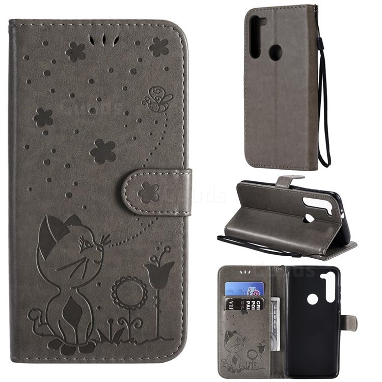 Embossing Bee and Cat Leather Wallet Case for Motorola Moto G8 Power - Gray