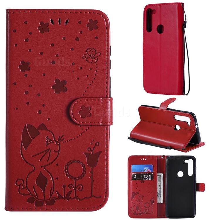 Embossing Bee and Cat Leather Wallet Case for Motorola Moto G8 Power - Red
