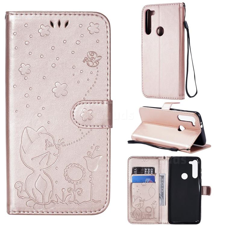 Embossing Bee and Cat Leather Wallet Case for Motorola Moto G8 Power - Rose Gold
