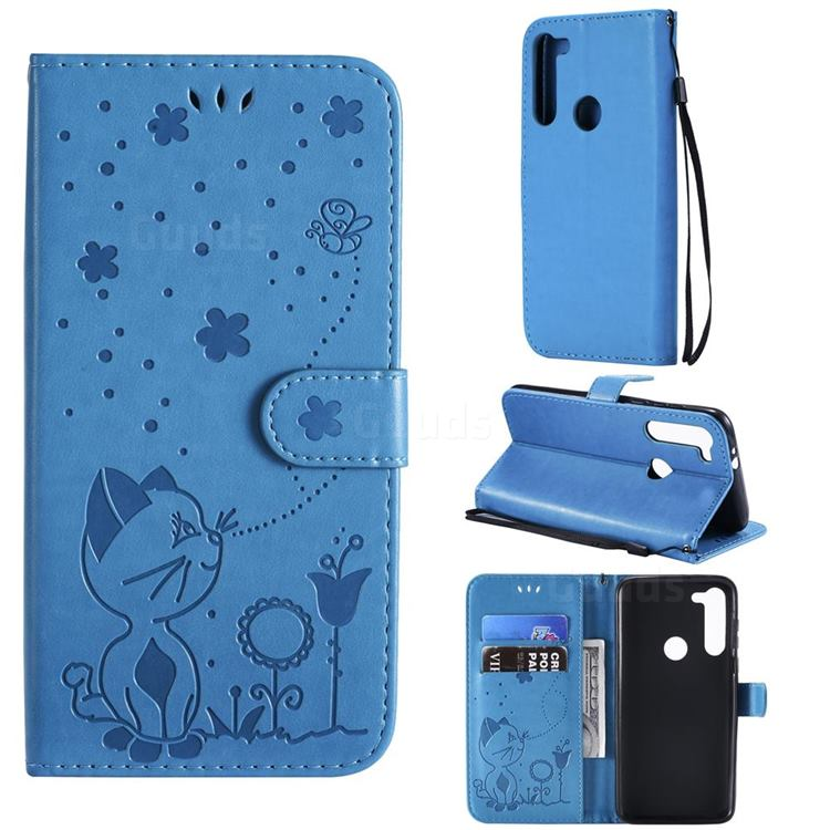 Embossing Bee and Cat Leather Wallet Case for Motorola Moto G8 Power - Blue