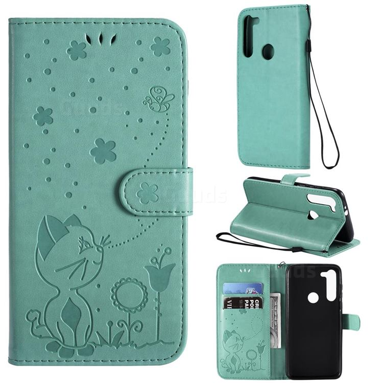 Embossing Bee and Cat Leather Wallet Case for Motorola Moto G8 Power - Green