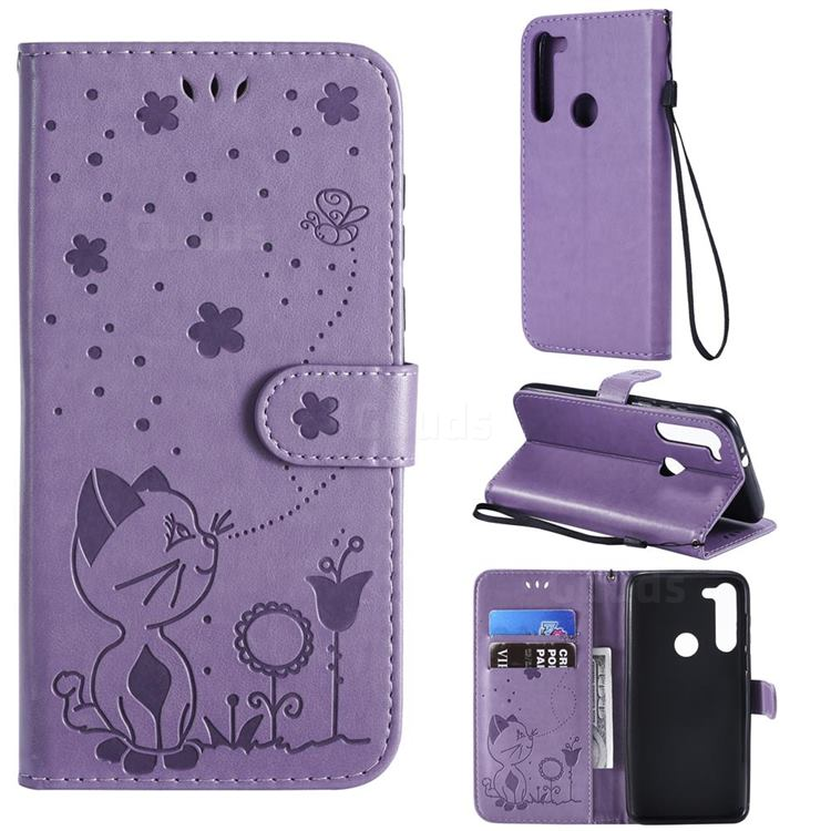 Embossing Bee and Cat Leather Wallet Case for Motorola Moto G8 Power - Purple