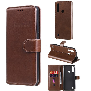 Retro Calf Matte Leather Wallet Phone Case for Motorola Moto G8 Power Lite - Brown