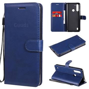Retro Greek Classic Smooth PU Leather Wallet Phone Case for Motorola Moto G8 Power Lite - Blue