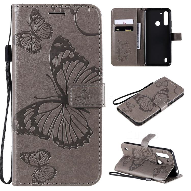 Embossing 3D Butterfly Leather Wallet Case for Motorola Moto G8 Power Lite - Gray