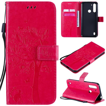 Embossing Butterfly Tree Leather Wallet Case for Motorola Moto G8 Power Lite - Rose