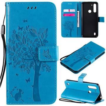Embossing Butterfly Tree Leather Wallet Case for Motorola Moto G8 Power Lite - Blue